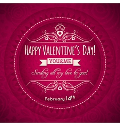 red valentines greeting card with heart flower vector image