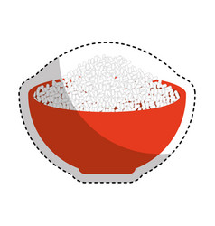 Rice dish isolated icon vector