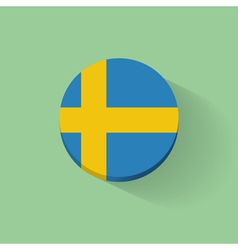 Round icon with flag of sweden vector