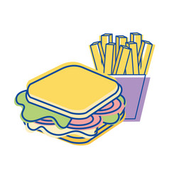 Sandwich with fries french icon vector