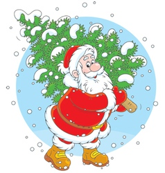 Santa with a Christmas tree vector image vector image