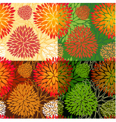 set of 4 seamless floral backgrounds vector image