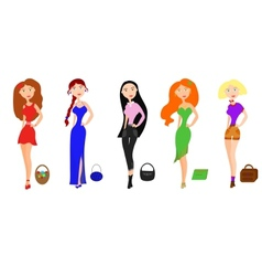 Set of fashion girls vector image vector image