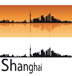 Shanghai skyline in orange background vector image