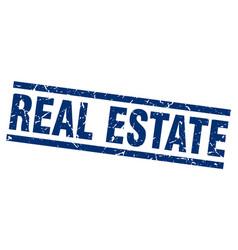 Square grunge blue real estate stamp vector