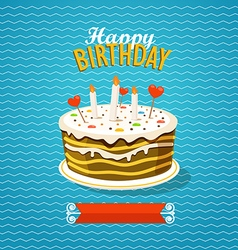 Sweet cake with candles greeting card vector