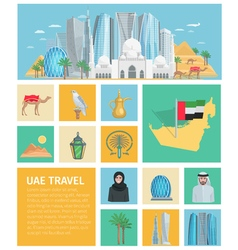 United Arab Emirates Decorative Icons Set vector image vector image