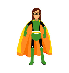 young masked brunette woman in a colorful vector image