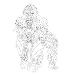 Zentangle patterned gorilla standing vector image