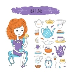 Tea time with image of girl vector