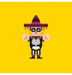 Dead mexican character for halloween in a flat vector