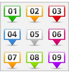 Map Pins with Numbers vector image