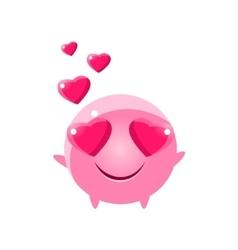 In love round character emoji vector
