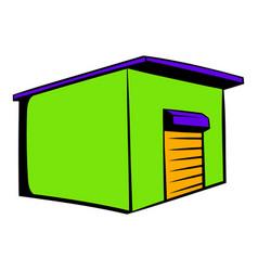 Industrial warehouse with roller door icon vector