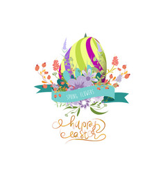 Easter greeting with eggs and flowers vector