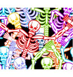 Multicolored skeleton ornament day of the dead vector