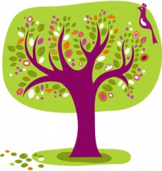 Decorative tree with a bird vector