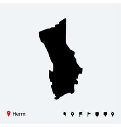 High detailed map of herm with navigation pins vector