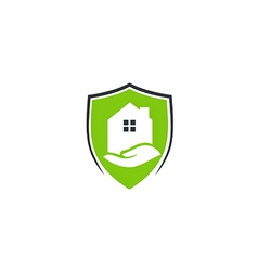 House protection shield care logo vector