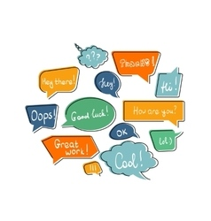 Flat contour speech bubbles vector