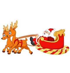 Santa riding sledge cartoon vector