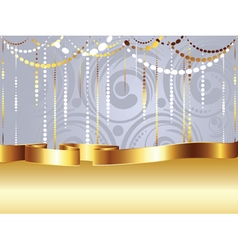 Swirls and gold ribbon4 vector