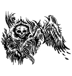Skull tattoo winged vector