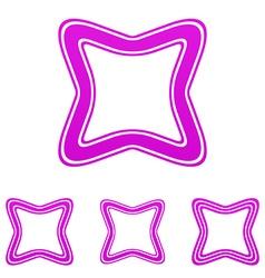 Magenta line square logo design set vector