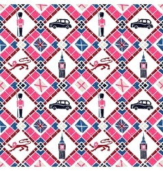 Seamless pattern argyle and british flags vector