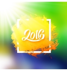 Brazil flag colors background with 2016 text vector