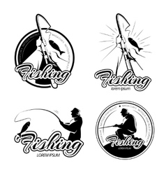 Vintage fishing logos emblems labels set vector