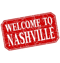 Welcome to nashville red square grunge stamp vector