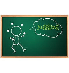 A blackboard with a drawing of a boy juggling vector image vector image