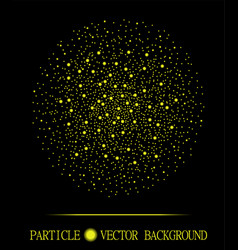 Abstract shpere of yellow glowing light particles vector