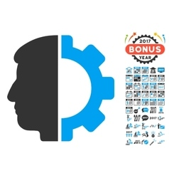 Android head icon with 2017 year bonus symbols vector
