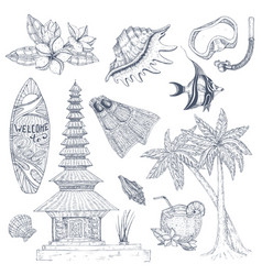 Balinese symbols set vector