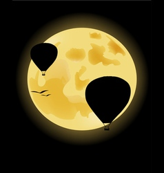 Balloons on the background of the full moon vector image vector image