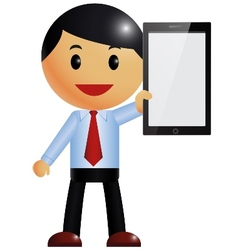 Businessman and smart phone vector image vector image