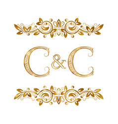 c and c vintage initials logo symbol two letters vector image