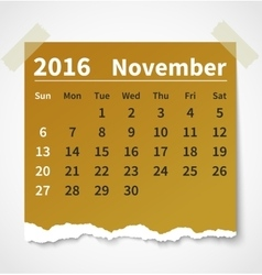 Calendar november 2016 colorful torn paper vector image vector image