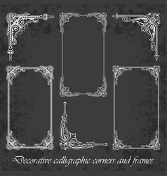 Calligraphic corners and frames on chalkboard vector