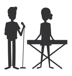 couple singing with microphone and playing vector image vector image