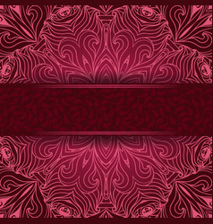 Elegant lace background with a red label with vector