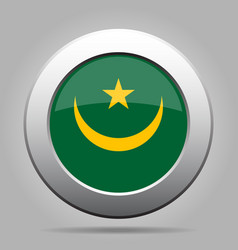 Flag of mauritania shiny metal gray round button vector