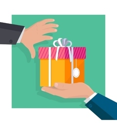 Giving Gifts Concept in Flat Design vector image vector image