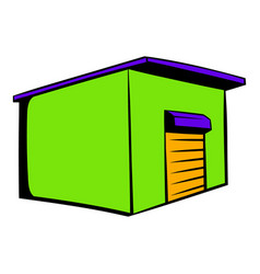 Industrial warehouse with roller door icon vector