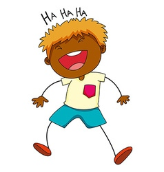 Little boy laughing on white vector image vector image