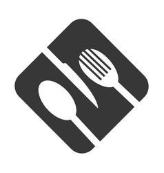 monochrome square frame with cutlery vector image