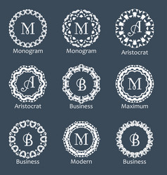 monogram template elegant design for identity vector image