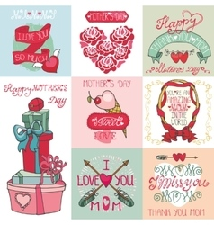 Mothers day cards setLabels heartsdecor vector image